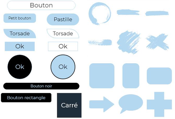 boutons et formes