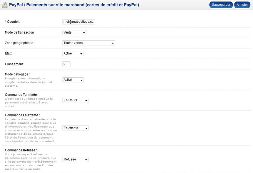 Champs mode paiement PayPal