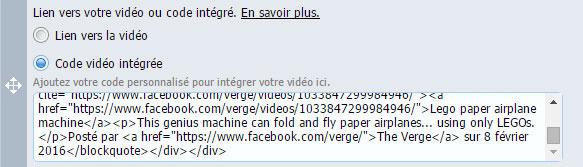Code video integree