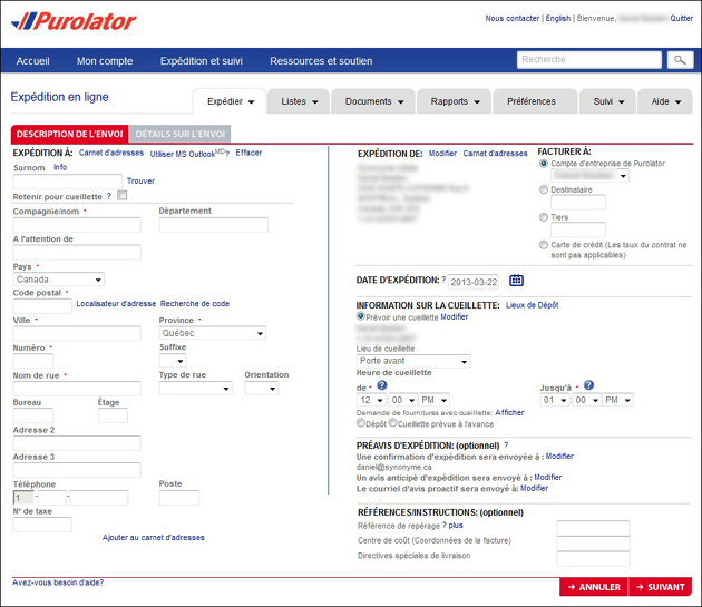 Description envoi Purolator