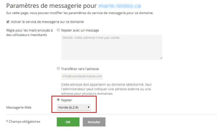 Rejeter courriel