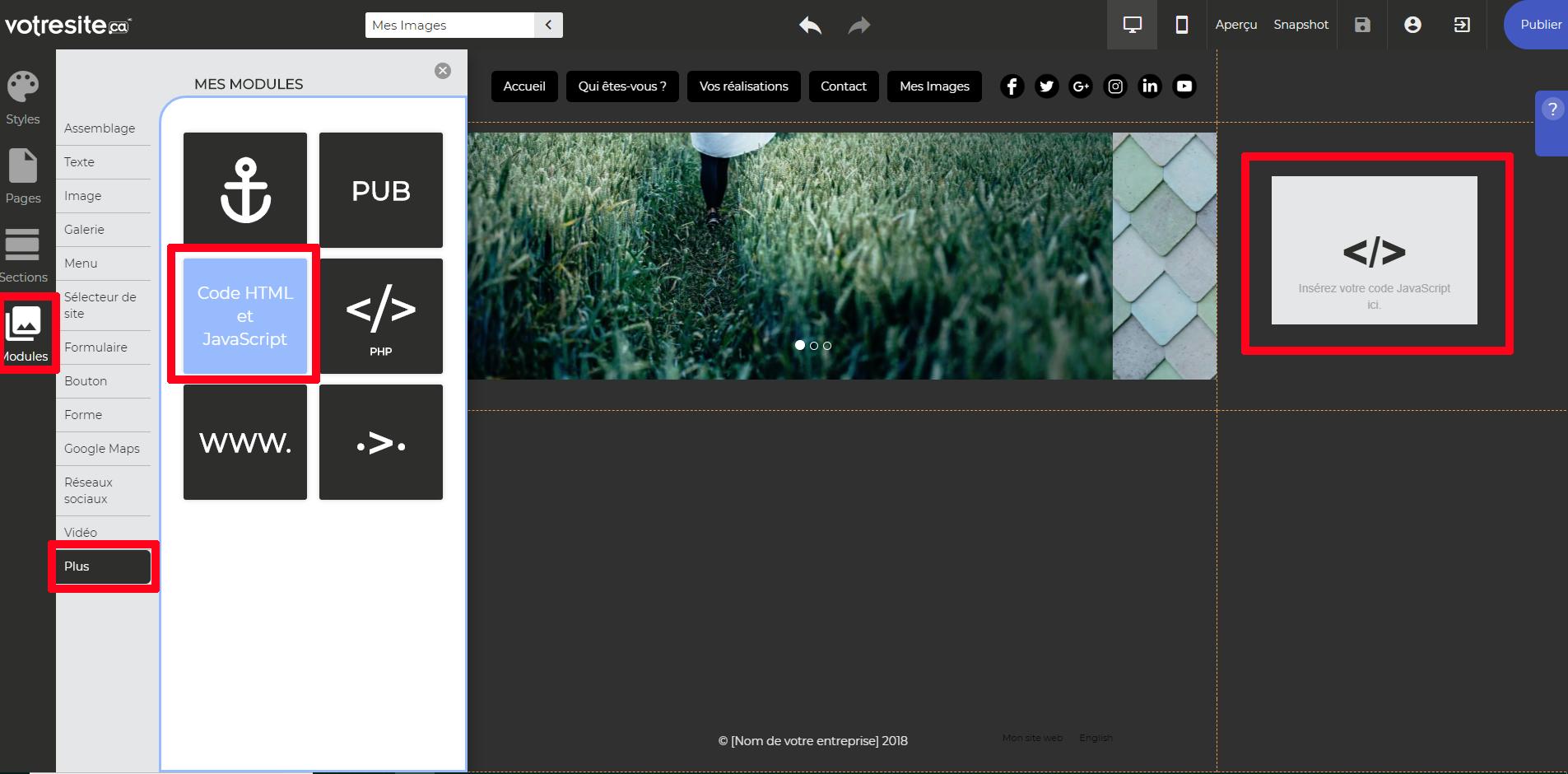 Ajouter module HTML outil création sites web votresite.ca