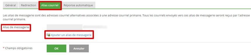 Alias courriel