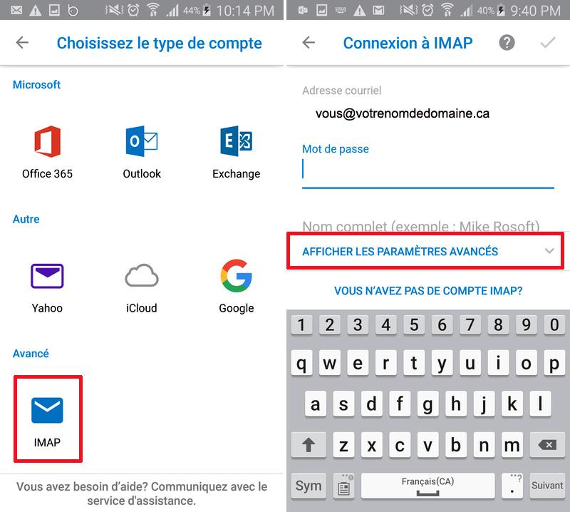 Android Outlook Paramètres avancés