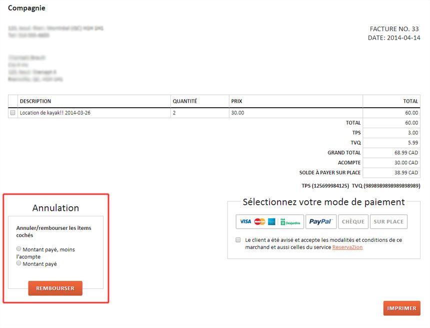 Modele facture note de credit document online for Annulation offre d achat maison