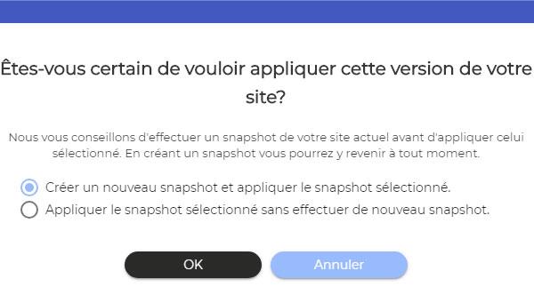 appliquer snapshot