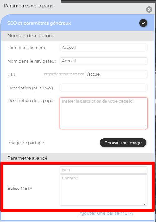 Ajouter métadonnées page internet