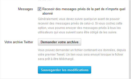 Case option message privé Twitter
