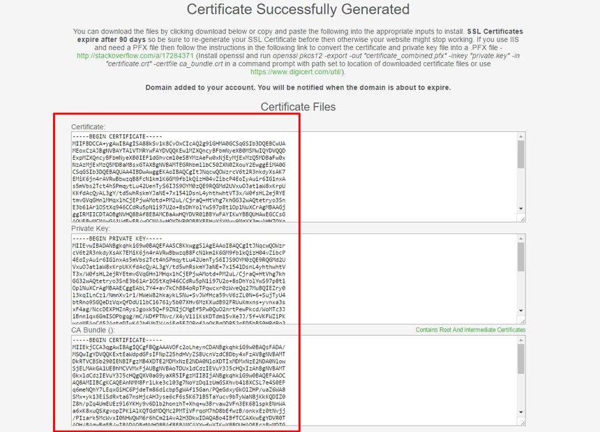 Codes générés du certificat