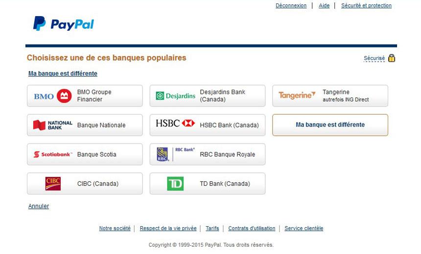 Choisir institution financière associé à PayPal