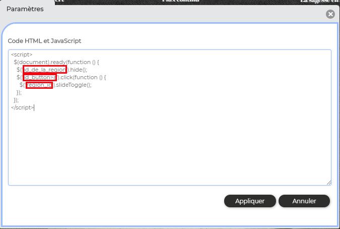 Code HTML accordeon votresite