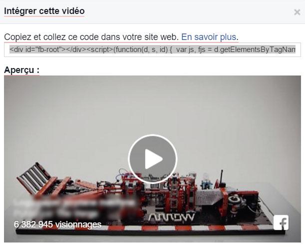 Code video Facebook