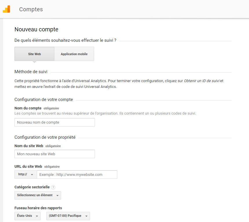 Compte Google Analytics