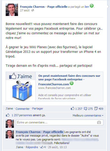 Concours Page Facebook