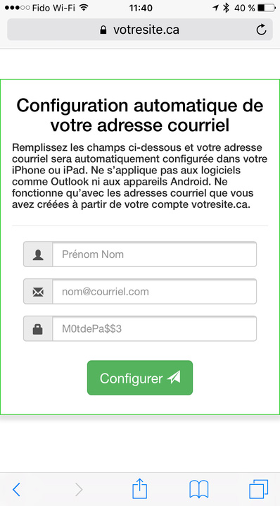 iPhone Configuration automatique courriel