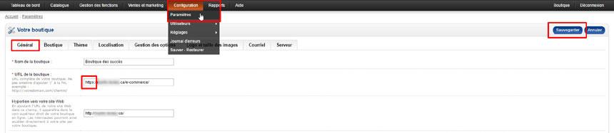 Configuration paramètres url boutique v1