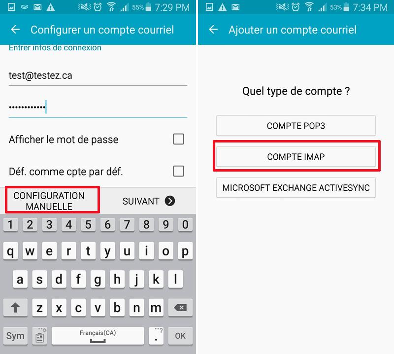 Courriel Android configuration manuelle