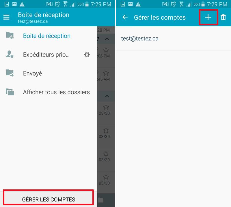 Courriel Android Gérer comptes