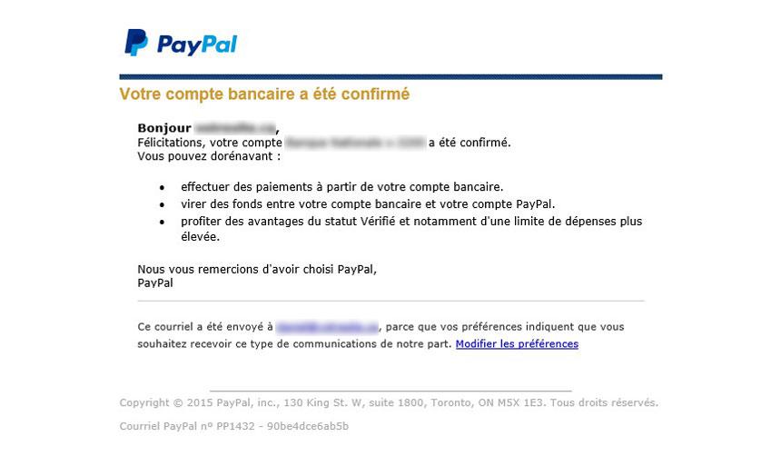 Courriel de confirmation du compte bancaire