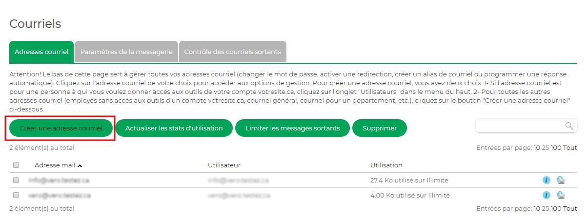 Créer adresse courriel
