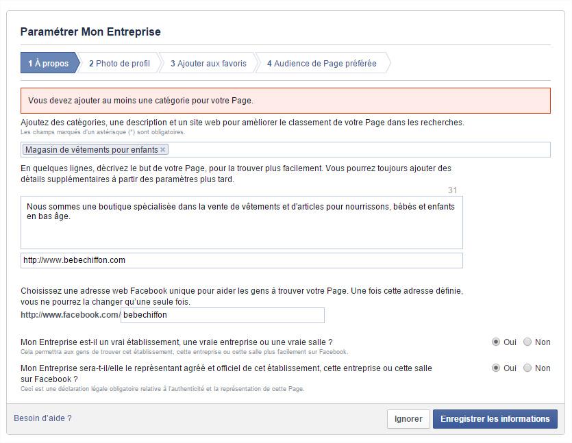 Page Facebook À Propos