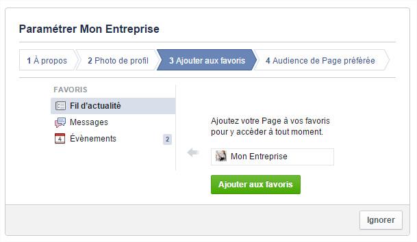 Page Facebook Ajouter favoris