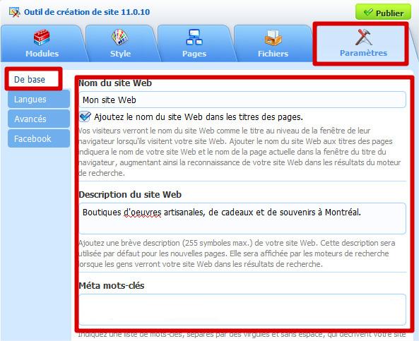 Description site Web