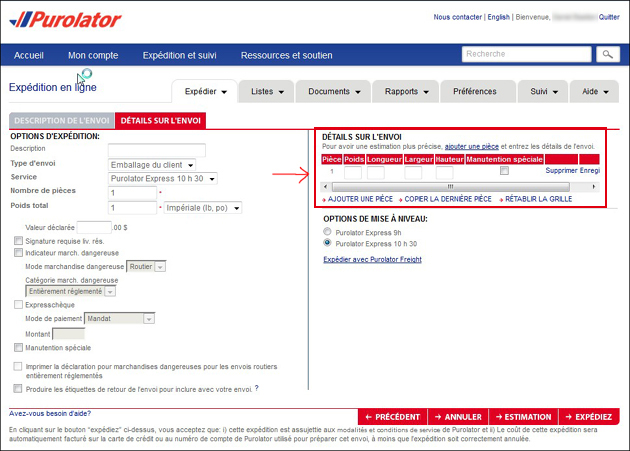 Outil estimation Purolator