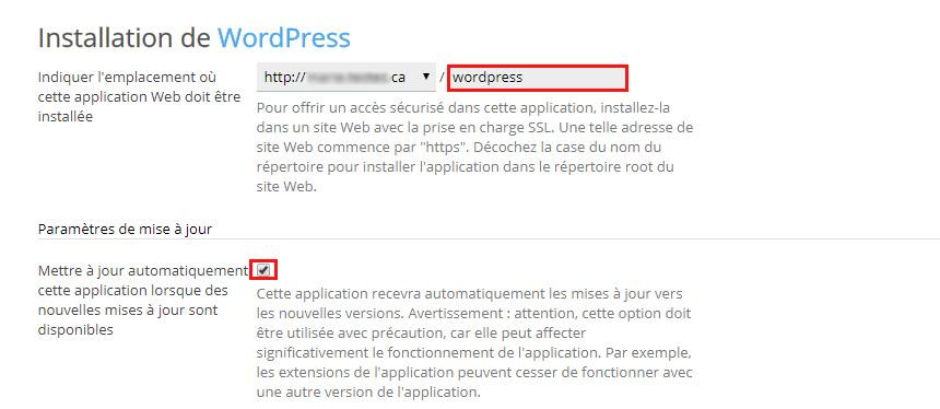Emplacement et mises à jour Wordpress