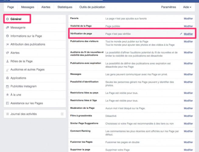 Facebook paramètre vérification page