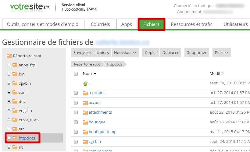 Fichiers httpdocs
