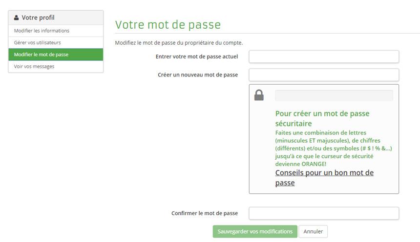 Formulaire modification du mot de passe