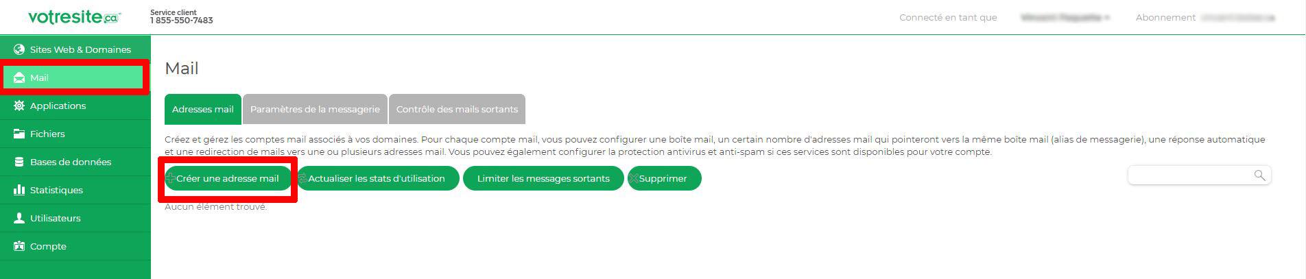 Gestion courriel votresite