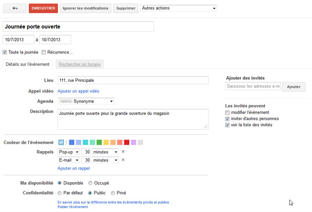 Google calendrier événement options