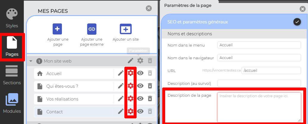 Inscrire description SEO page internet