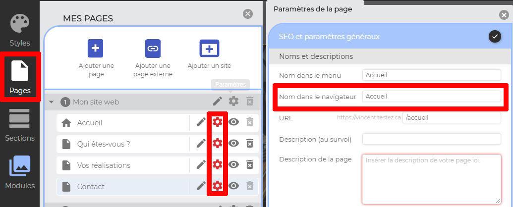 Inscrire nom de page dans navigateur