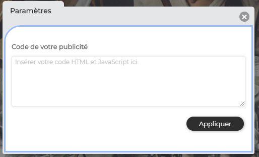 Insérer code HTML et JavaScript publicité Google AdSense