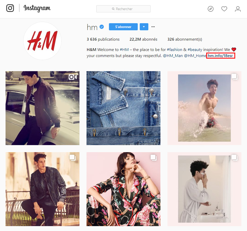 Page Instagram H&M