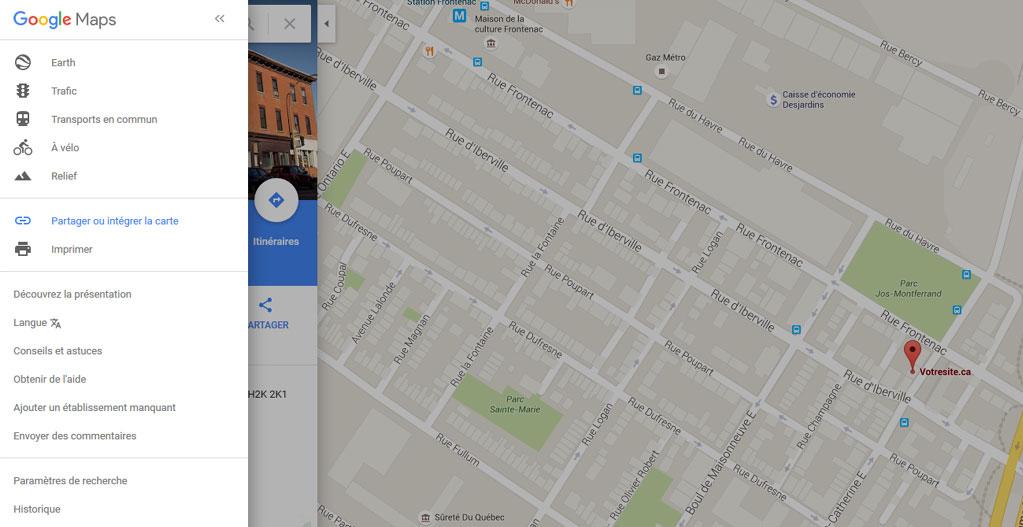 Intégrer carte Google Maps