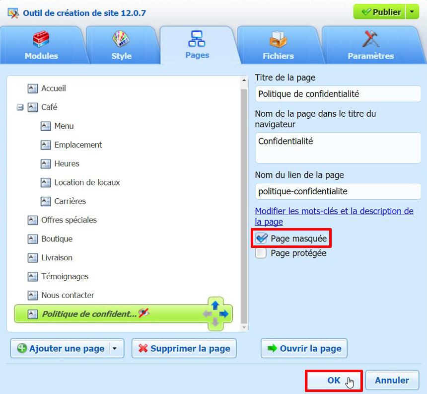 Intégrer politique de confidentialité dans site Web