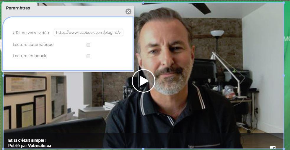 Ajouter vidéo Facebook sur son site internet