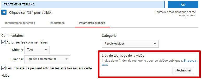Lieu vidéo YouTube