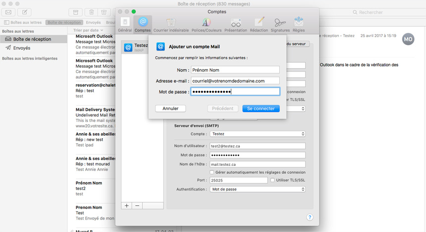 Mac Mail Ajout informations compte