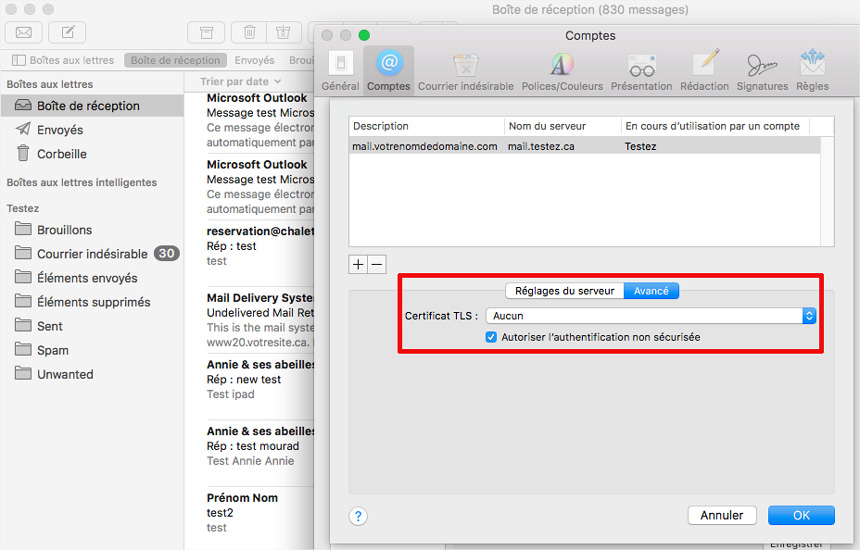 Mac Mail authentification