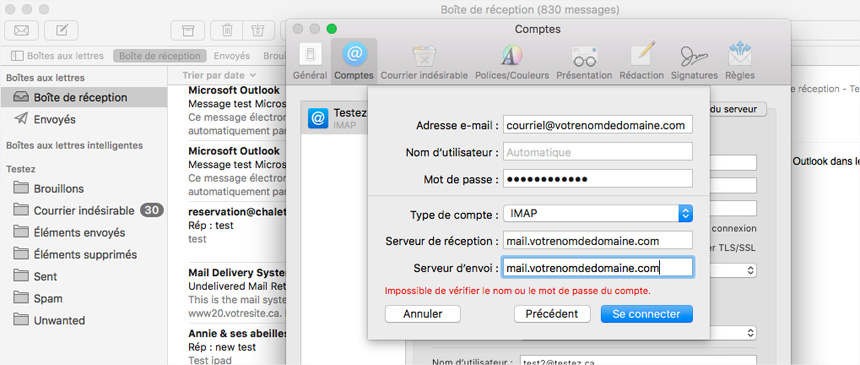 Mac Mail Comptes infos