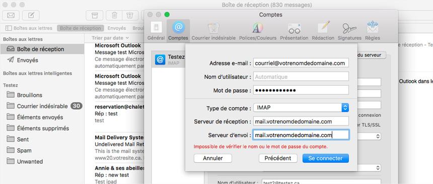 Mac Mail Comptes infos