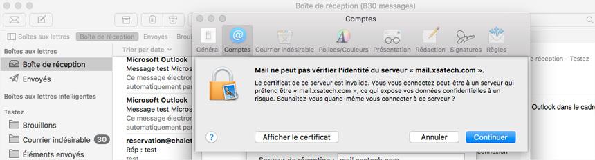 Mac Mail Vérification identité