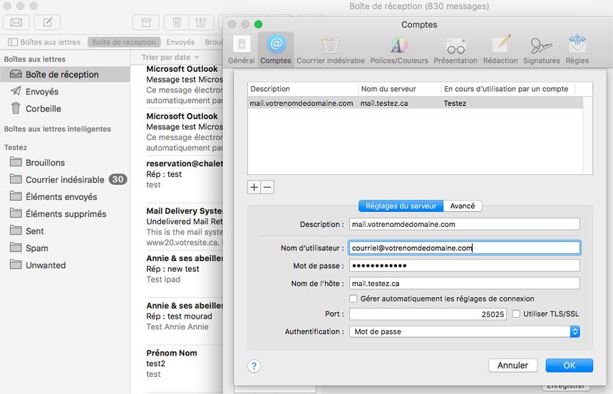 Mac Mail réglages