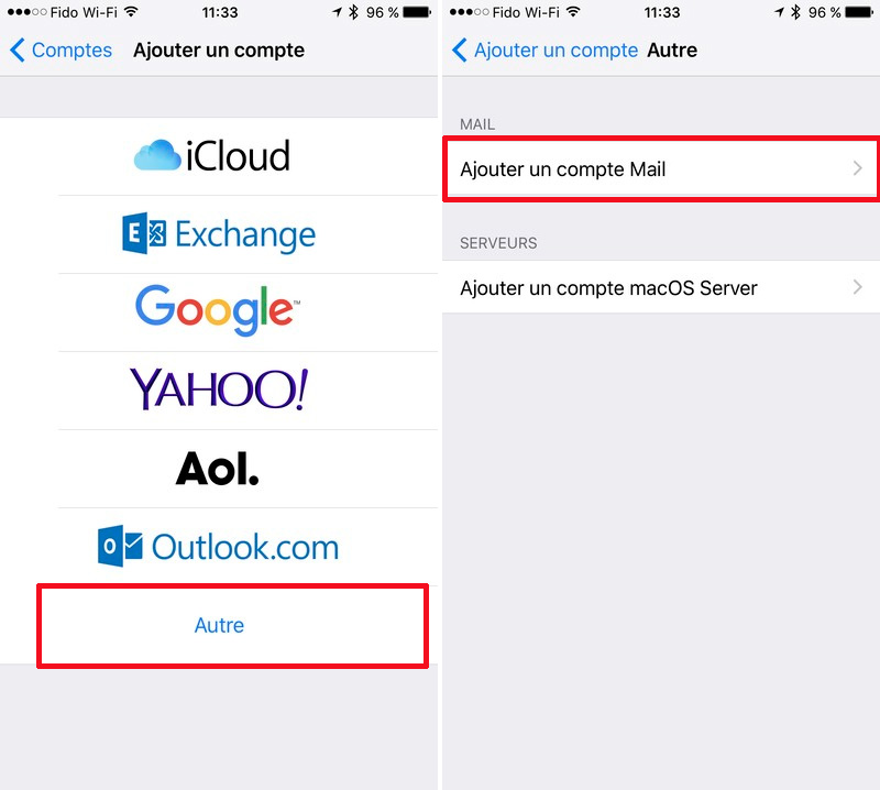 Mail iPhone Ajouter compte