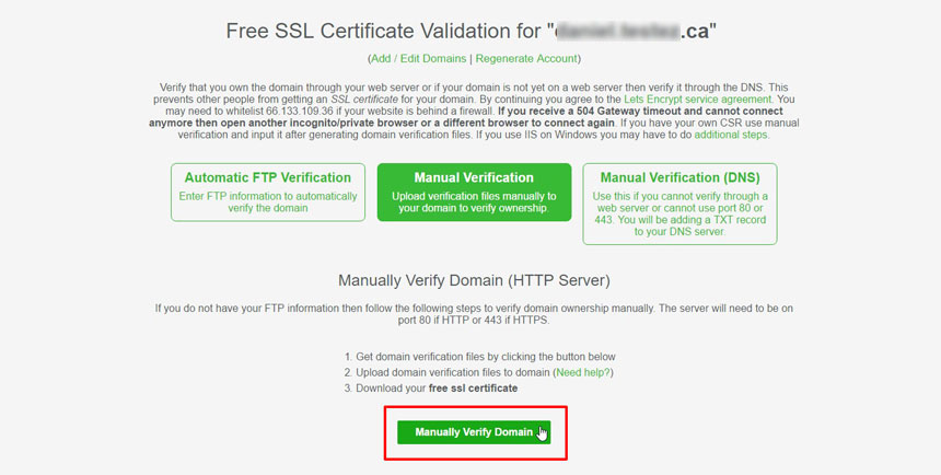 Manual Verify Domain